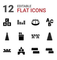 12 block icons vector