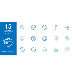 15 happiness icons vector