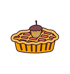 acorn and sweet cake on white background vector image