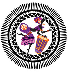 African woman in ethnic dress playing drum vector