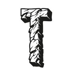Alphabet letter t vintage monochrome concept vector