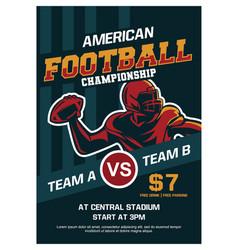 American football championship brochure poster vector
