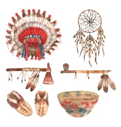 American native objects pictograms set watercolor vector