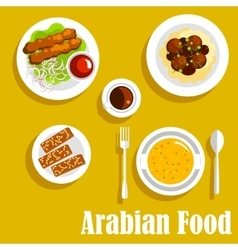 Arabian dishes with kebab falafels halva icon vector