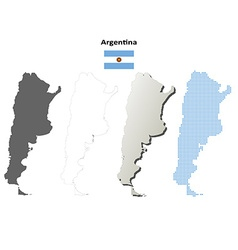 Argentina outline map set vector