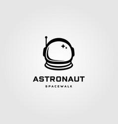 Astronaut helmet space walk travel vintage logo vector