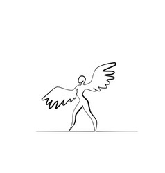 Ballet dancer with wings in motion one line vector