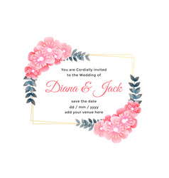 beautiful flower decorative wedding card design vector image