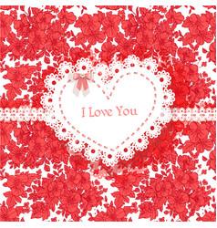 beautiful valentine card wild scarlet flowers vector image
