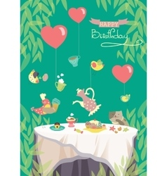 Birthday party card cute birds and table vector