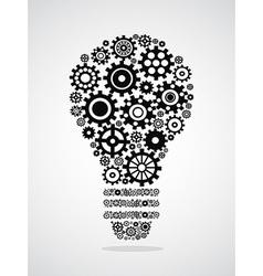 black gear light bulb vector image