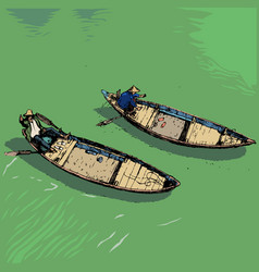 Boats on river vietnam color vector