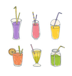bundle of colorful healthy drinks in various vector image