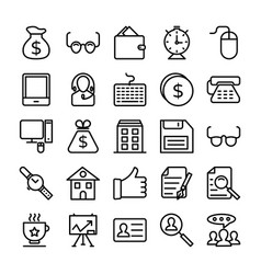 business and office line icons 9 vector image