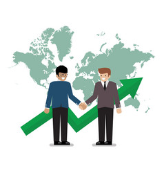 business handshake on the background of world map vector image