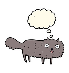 Cartoon furry cat with thought bubble vector