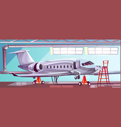 Cartoon gray airlinerin aviation hangar vector