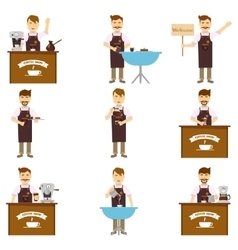 Characters Of Barista Set vector