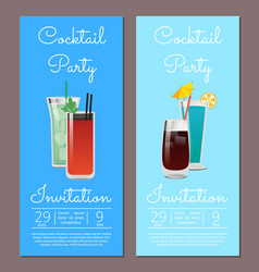 Cocktail party invitation banner beverages glasses vector