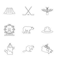 country of canada icon set outline style vector image