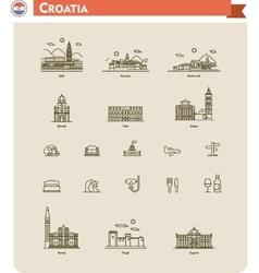 Croatia travel icon set vector image