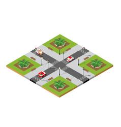 Crossroads city street vector