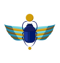Egyptian bug-beetle with wings symbolism of vector