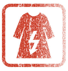 Electric woman dress framed textured icon vector