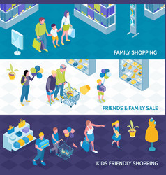 Family shopping isometric banners vector