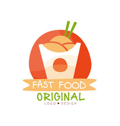 fast food logo original design badge with wok in vector image