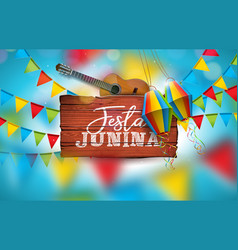 festa junina with acoustic guitar vector image