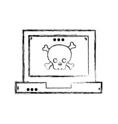 Figure dancer skull bones caution inside laptop vector