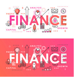 finance word abstract thin line vector image