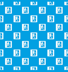 fire exit sign pattern seamless blue vector image