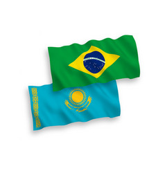 Flags kazakhstan and brazil on a white vector