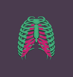 Flat shading style icon chest thorax vector