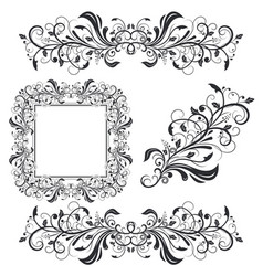 floral decorative frame and ornaments wedding vector image