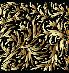 Floral hand drawn seamless pattern gold black vector