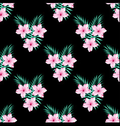 floral pattern on black vector image