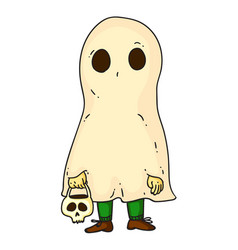 funny halloween ghost kid isolated on white vector image