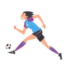 girl playing soccer young woman football player vector image