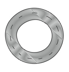 grated vehicle tire of rubber wheel design vector image