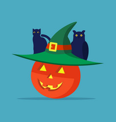 halloween pumpkin with a hat cat and owl vector image