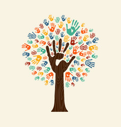 Hand print tree of diverse community team vector