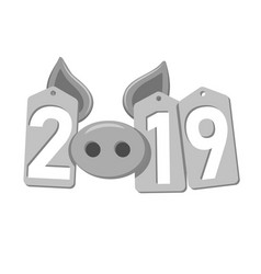 happy new year background pig face silver sale vector image