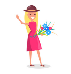 happy smiling woman in hat with bouquet of flowers vector image