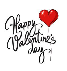 happy valentines day handwritten lettering black vector image