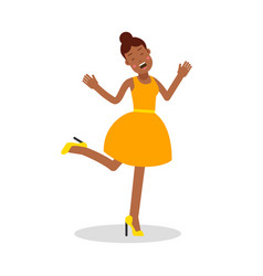 happy young black woman in yellow dress laughing vector image