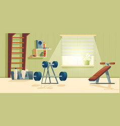 home gym with barbell climbing frame vector image