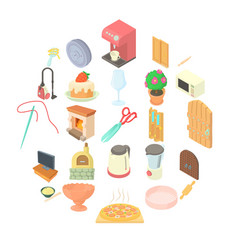 homestead icons set cartoon style vector image